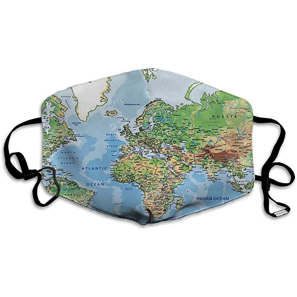 Elaine-Shop Antipolución Polvo Mascarilla facial Mapa del mundo Mapa del mundo físico altamente detallado con etiquetado C