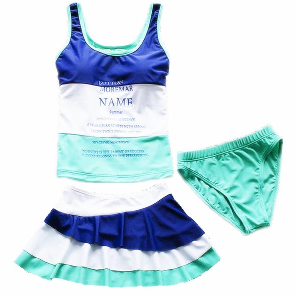 ZYZF 3 Pieces Kids teens Girls Tankini Bikini Swimwear Swimsuit Dress UPF 50+ UV 20160614001