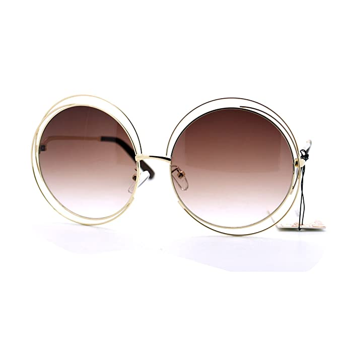 7a2817697e2 Womens Super Oversized Sunglasses Round Circle Wire Metal Frame Gold