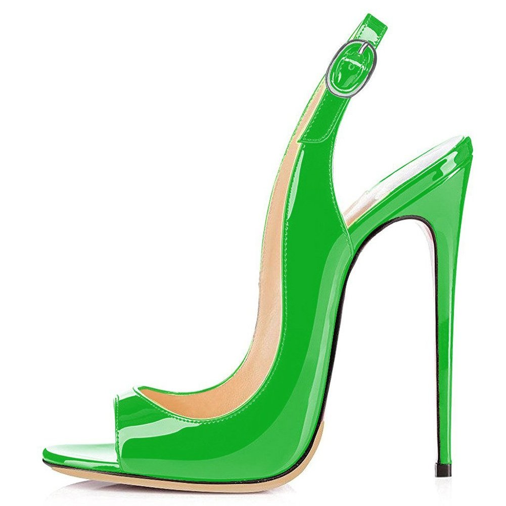Green UMEXI Open Toe Slingbacks Ankle Strap High Heels Stiletto Pumps Wedding Party shoes for Women