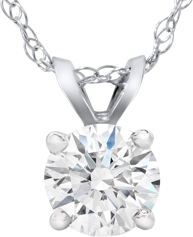 2 Ct Star Brilliant Cut Solid 14k White Gold Solitaire Pendant Necklace