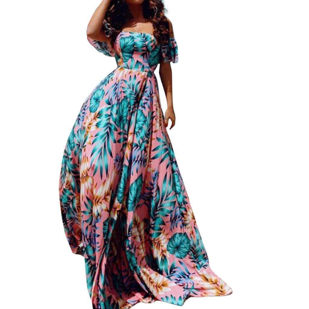 SMILEQ Vestido de Mujer Falda con Estampado Floral sin Espalda sin ...