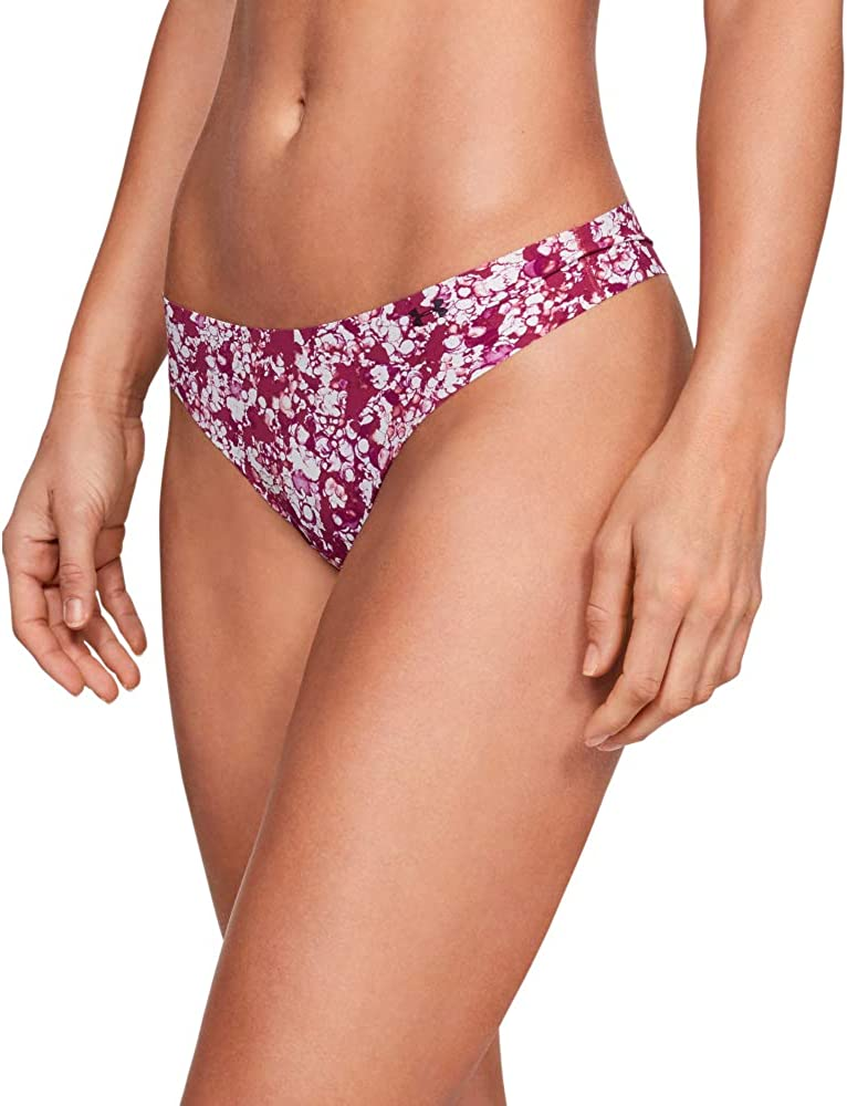 Under Armour Womens UA Pure Stretch Thong Underwear Printed 3-Pack Ropa Interior de Mujer para una Silueta m/ás Suave y Favorecedora Rosa L Pink