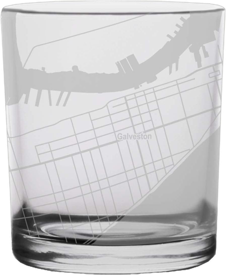 Galveston City Map Whiskey Glass Texas