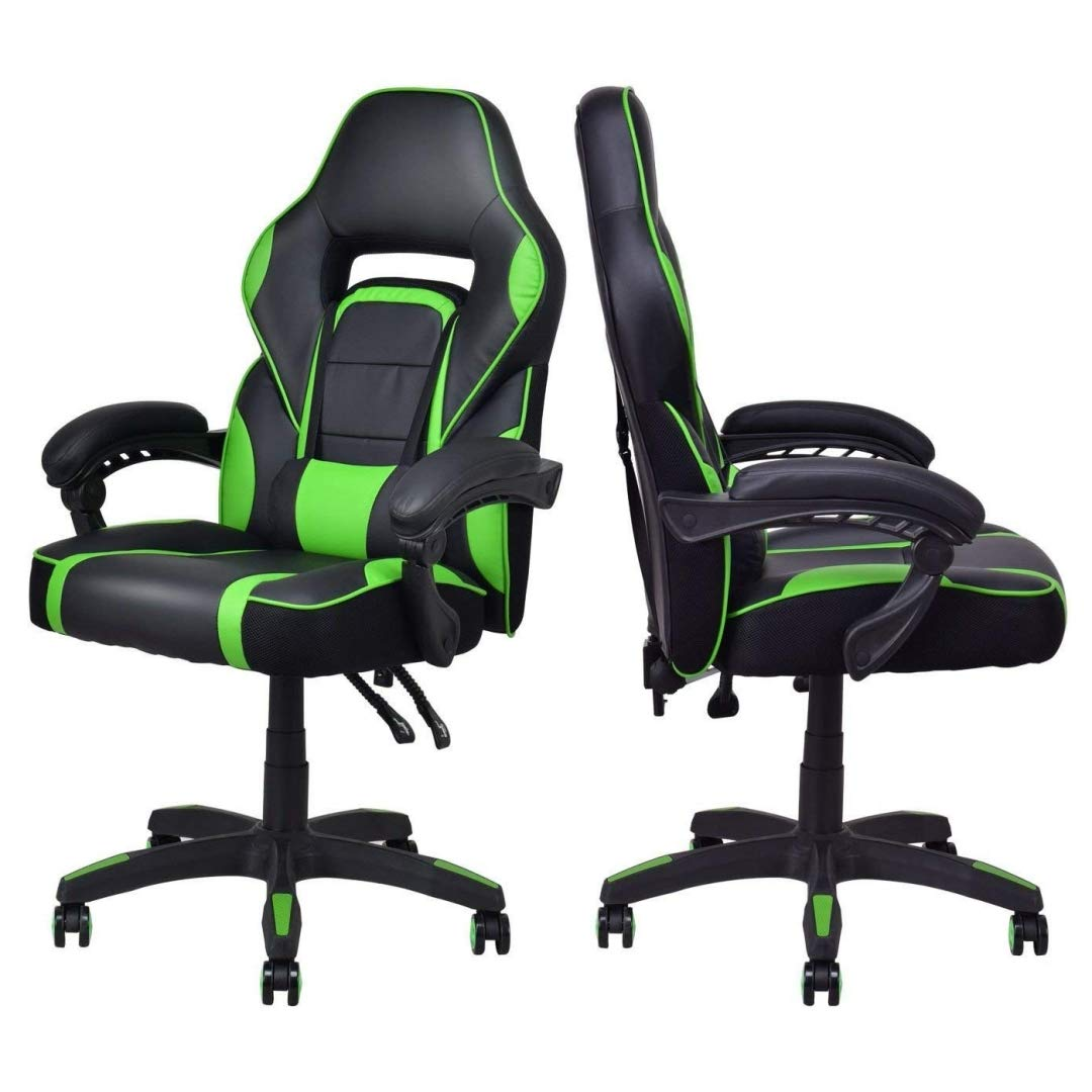Modern Racing Style Gaming Chairs Thick Padded Seat PU Leather Upholstery Adjustable Recline Design Chair with Waist Pillow Home Office Furniture Decor - Set of 4 Green #2115 by KLS14