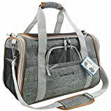 Mr. Peanut's Airline Approved Soft Sided Pet Carrier, Luxury Travel Tote with Premium Zippers & Safety Clasps, Plush Faux Fleece Bedding with a Sturdy Plywood Base, 18LX10.5WX11''H (Sunset Gray)