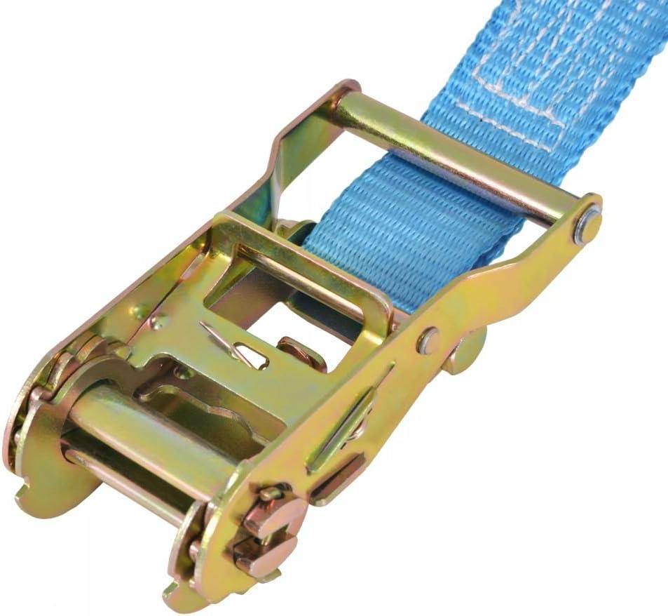 vidaXL 142655 10x Professional Ratchet Tie Down Straps 2 Tonnes 6 m x 38 mm Ratchet Strap Lashing Straps Blue