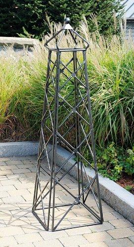 (Achla Designs OBL-25 Lattice Wrought Iron Garden Obelisk Trellis, Graphite)