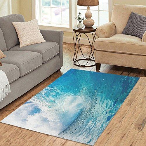 InterestPrint Area Rug Ocean Heavy Waves Anti Skid Carpet 5'