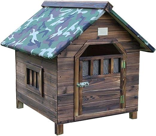 Perro Perrera Sólido Madera Al Aire Libre/Interior Perro/Mascota Casa Jardín Caja/Desmontable Piso/Modelo Casa Residencia Canina Casas (Color : A, Size : XL99x92x95cm): Amazon.es: Productos para mascotas
