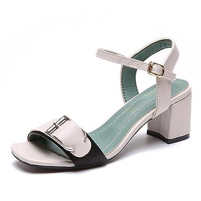 86ef856f25953 JITIAN Sandales à Talons Femmes Mode Chaussures Bout Carré Élégant Bride  Cheville Boucle Sandale Ouvert Blanc