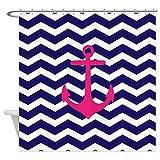 Hot Pink Chevron Shower Curtain CafePress Hot Pink Anchor Blue Chevron Decorative Fabric Shower Curtain (69