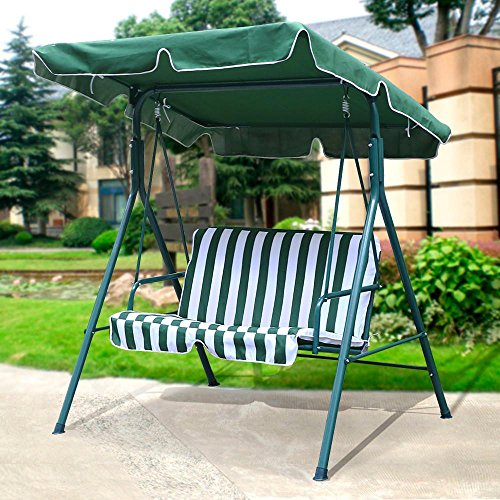Yaheetech 2 Person Outdoor Patio Yard Swing Canopay with Irom Frame UV Seat Cover 440 Lb Capacity Green - 2 Seater Glider