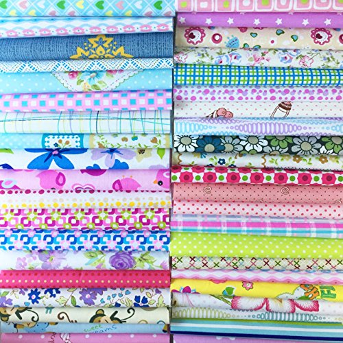 Misscrafts 50 PCS 12 x 12 inches (30 x 30 cm) Cotton Fabric Squares Precut Quilting Charm Pack