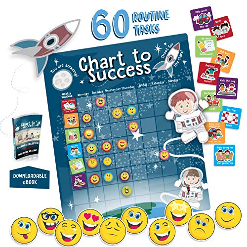 Chart to Success| Magnetic Dry Erase| Daily Routine Responsibility Chore Chart for Kids| 80 Emojis| 60 Tasks, Including Behavior and Self-Care| Fun Design for Both Boys and Girls| Raising a Star (Child Ages And Stages Of Development Charts)