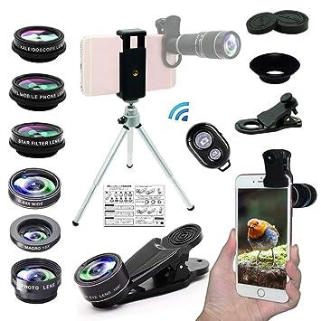 【タイムセール】Bostionye 携帯 レンズ (高品質HD10 イン 1 レンズ キット 20倍 シングル レンズ ズーム 望遠鏡) 0.63 広角 15X マクロ 198 ° フィッシュアイ 2X 望遠 CPL フィルタ 万華鏡 スターフィルタ スマホレンズ 三脚 アイ マスク