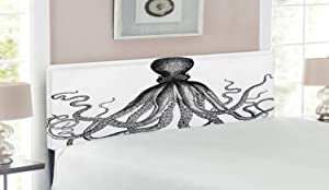 Lunarable Nautical Headboard, Vintage Engraved Illustration of an Octopus Sea Creature Monochrome Art, Upholstered Decorative Metal Bed Headboard with Memory Foam, Queen Size, Grey Charcoal