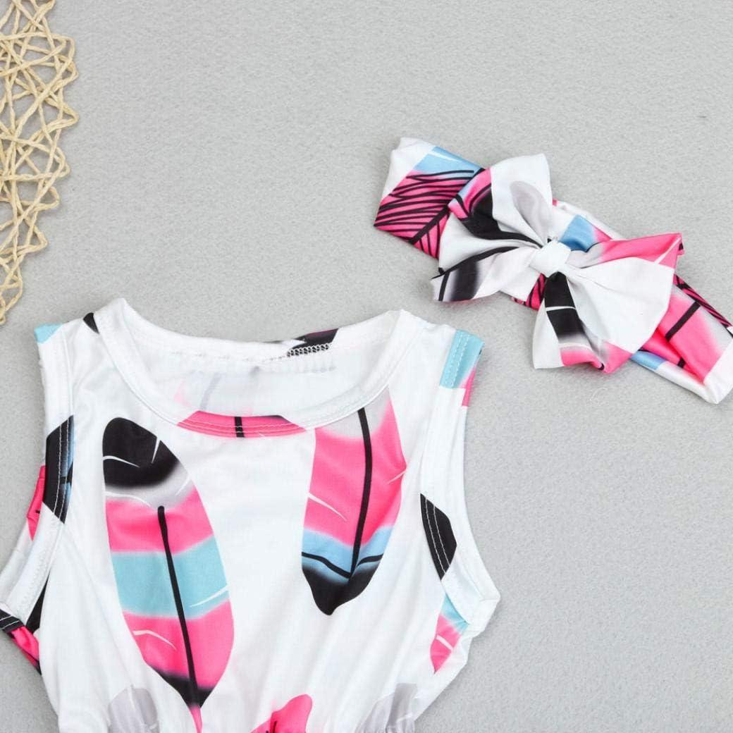 Baby Girls Sleeveless Feather Print Romper Jumpsuit+Headband 2PCS Kid Set
