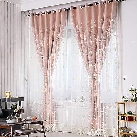 Spitze Bestickt Vorhang Doppelschicht für Wohnzimmer Tüll Drapiert Ösen