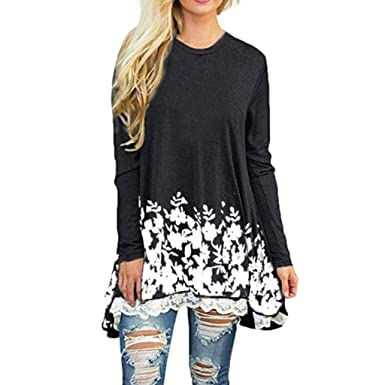 1d84ad2de24 A line Floral Lace Tunic Women's Round Neck Sheer Long Sleeve Top Blouse  Black