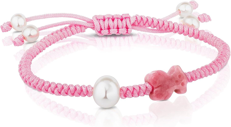 TOUS pulsera de mujer ajustable en cuerda y ónix, perlas cultivadas.