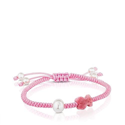 aa4aa5e58598 TOUS pulsera de mujer ajustable en cuerda y ónix, perlas cultivadas.