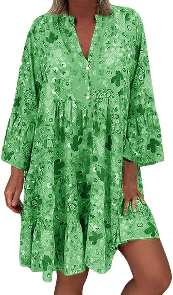 SMILEQ Vestido de Mujer Falda con Estampado Suelto de Talla Grande de Verano Manga Tres Cuartos con Cuello en V Mini Vestido Informal