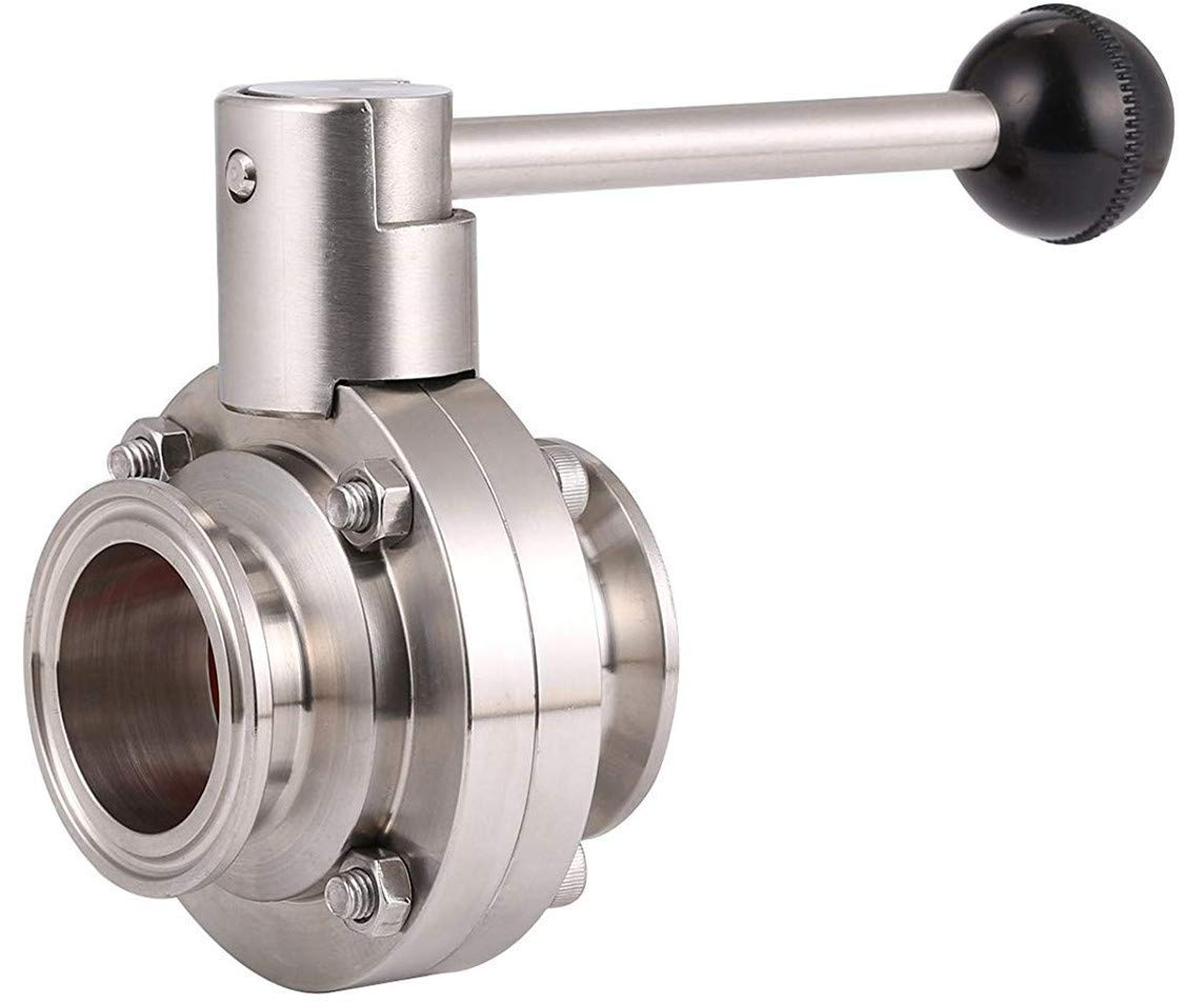 KOLERFLO 1.5 inch Sanitary Butterfly Valve with Pull Handle Stainless Steel 304 Tri Clamp Clover (1.5'' Tube OD)