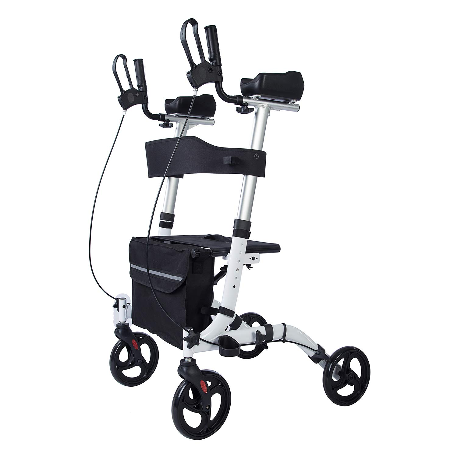 BEYOUR WALKER Upright Rollator Walker Euro Style Stand Up Walking Aid White by BEYOUR WALKER