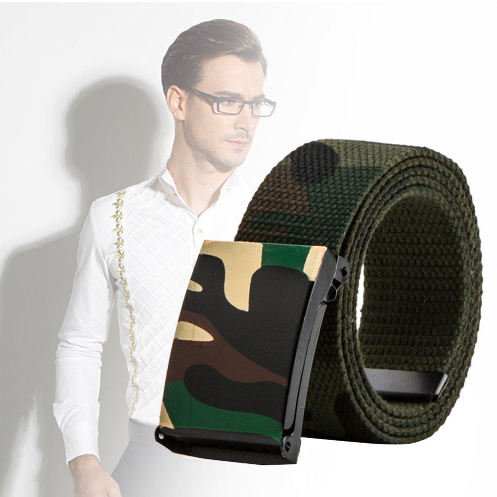 Vbiger Men\'s Plain Canvas Casual All-match Belt (D-Army Green / 110cm)