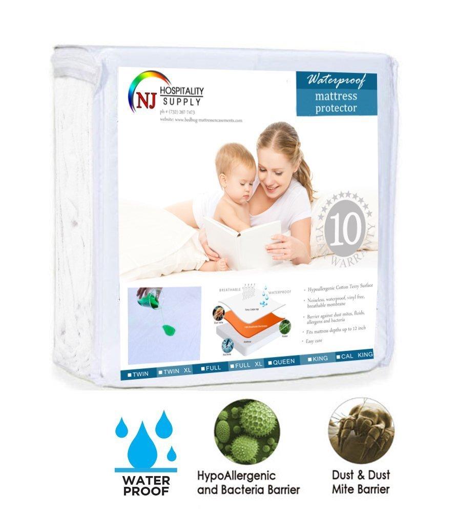 Everest Mattress Protector Premium Cotton Terry Fitted Cover 100% Hypoallergenic, Waterproof (Sleeper Sofa Queen 60 x 72 +12'')