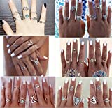 WellieSTR 38 Pieces Turkish Arrow Moon Turquoise Joint Knuckle Nail Midi Ring Set Boho Ring Set