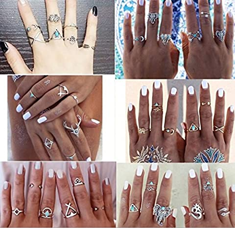 Hommie 39 Pieces Turkish Arrow Moon Turquoise Joint Knuckle Nail Midi Ring Set Boho Ring Set (Boho Rings Silver)