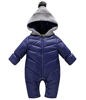 f0ebe7390d04 Winter Baby Boys Girl s One-Piece Cable Hood Duck Down Snowsuit Jumpsuit  Newborn Romper Blue