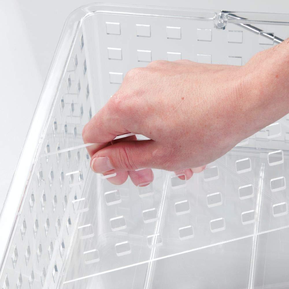 Toallas y champ/ú Caja apilable Mediana con 2 Compartimentos para Maquillaje Transparente mDesign Caja de Almacenamiento con Asas integradas Organizador de cosm/éticos para el ba/ño