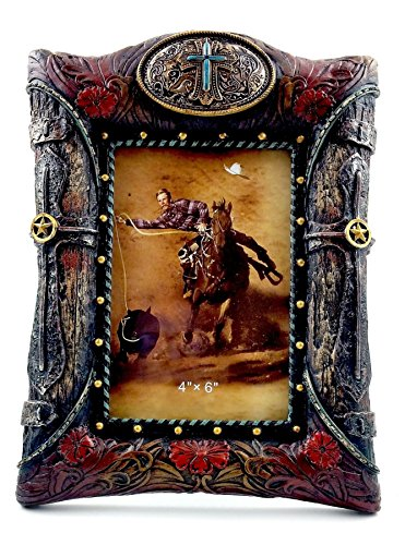 (Oberstuff Western Cross and Buckle Picture Frame, 4x6 Photo, Turquoise Cross and Tooled Leather and Wood Styling on Sturdy Resin.)