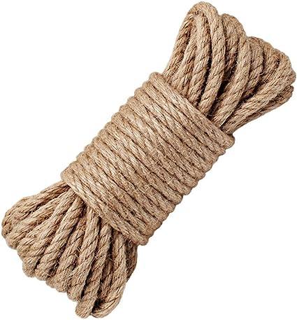 YOCZOX Cuerda 100% Natural de cáñamo, 8 mm de Grosor, SOGA Fuerte de Yute, Cuerda para Camping, Jardines, Barcos, Juegos de Guerra, Mascotas, Cuerda ...