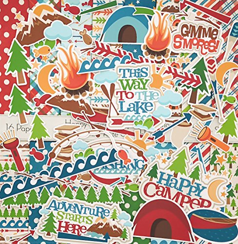 - Happy Camper Set - Matching Die Cuts & Paper Kit by Miss Kate Cuttables - 16 Single - Sided 12