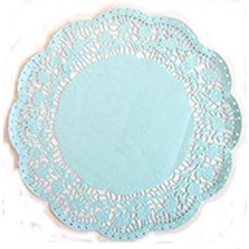 3 Blondas de papel encaje azules para bandejas diámetro 35 cm