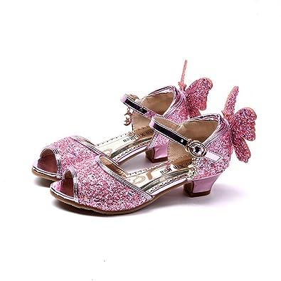 50289da228a55 Amazon.com | Girls High Heels Blue Kids Sandals Ice Romance Princess ...