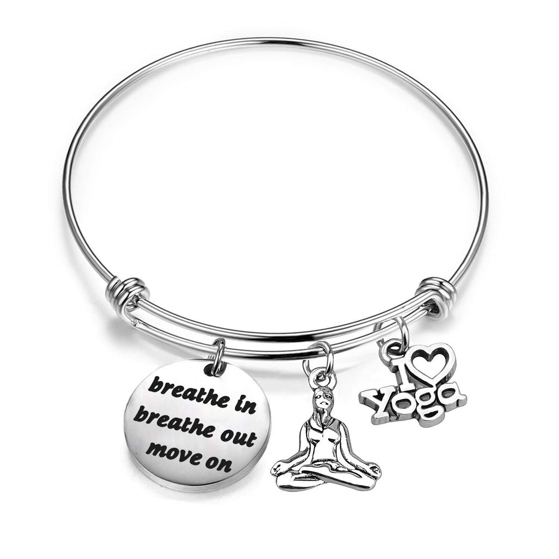 Yoga Bracelet Breathe in Breathe Out Move on Bracelet Meditation Jewelry Yogi Gifts