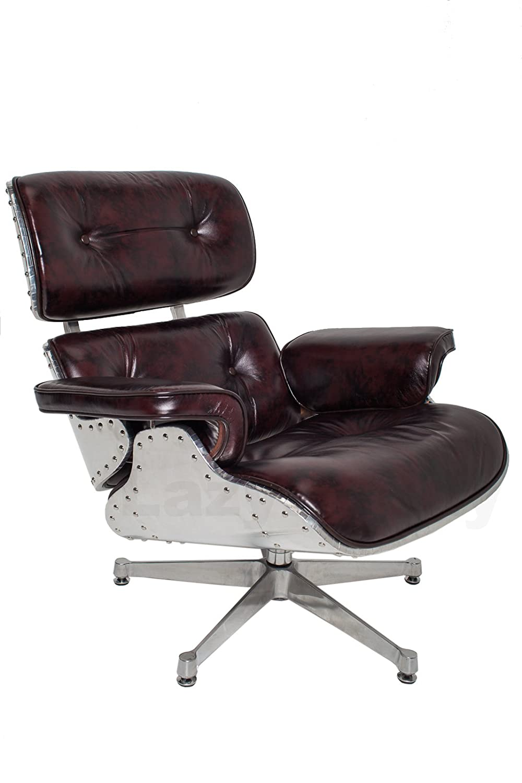 Mid Century Modern Classic Aluminum Aviator Lounge Chair U0026 Ottoman With  Premium Brown Vintage Top Grain Leather Eames Style Replica: Amazon.ca:  Home U0026 ...