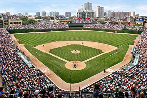 At the Ballpark, Fine Art Photograph By: Larry Malvin; One 36x24in Fine Art Paper Giclee Print (Wrigley Field Green)