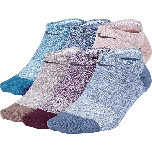 NIKE Womens Everyday Lightweight No-Show Socks (6 Pairs), Multi-Color (903), Medium