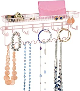 mDesign Decorative Metal Closet Wall Mount Jewelry Accessory Organizer for Storage of Necklaces, Bracelets, Rings, Earrings, Sunglasses, Wallets - 8 Large /11 Small Hooks, 1 Basket - Light Pink/Blush