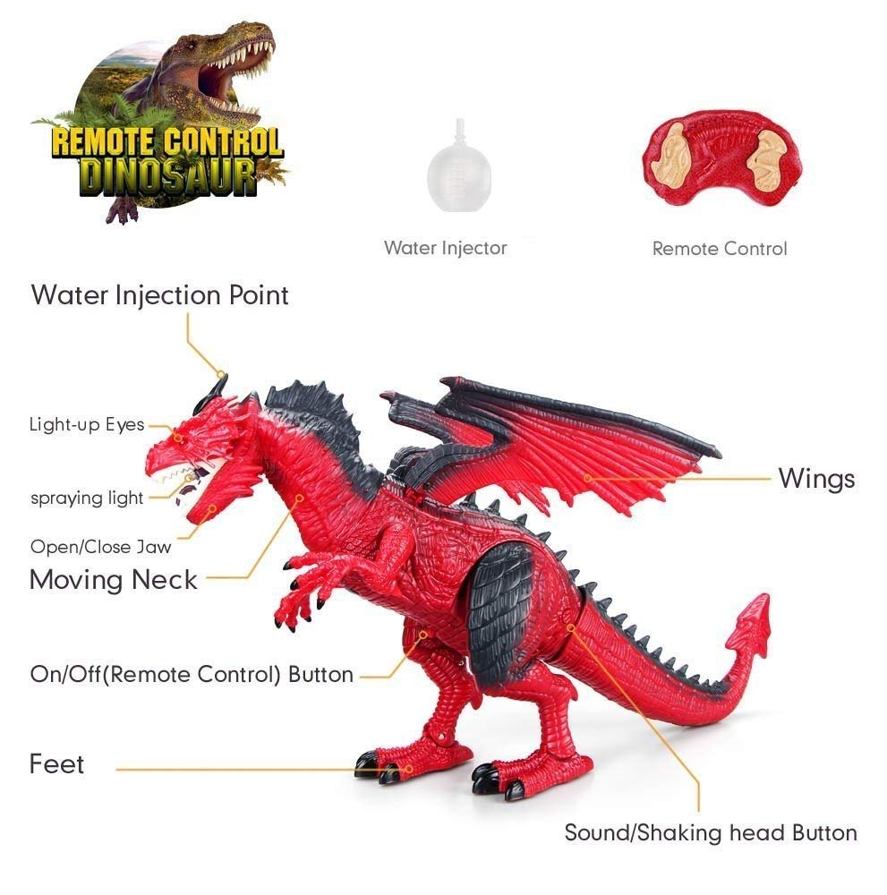 Remote Control Electronic Walking Dinosaur Toy Children RC Animal Toys w/ Simulation Roaring , Spraying Smoke , Shaking Head , Flapping Wings Functions ,Cool for Boys & Girls (Red) by O.B Toys&Gift (Image #4)