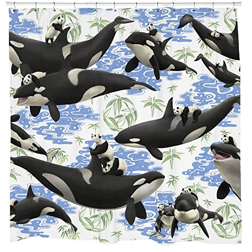 Whale Shower Curtain, Panda Art, Animal Pattern, Nautical Decor, Beach Theme, Whale Art, Orca, White Fabric, Hooks Included