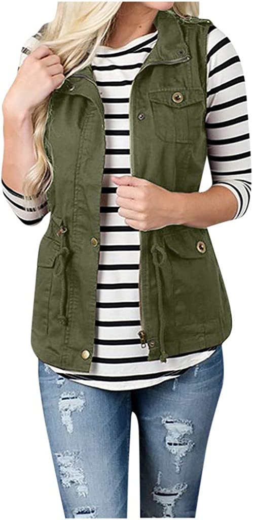 Women's Solid Sleeveless Outerwear Plush Zipper Pocket Military Jacket Lightweight Vest Coat with Pockets