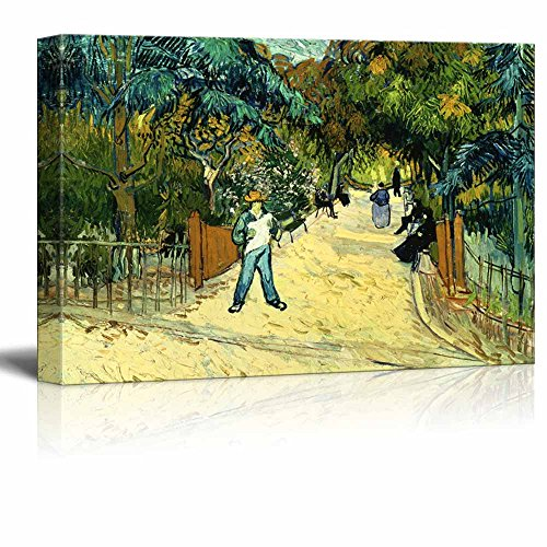 Entrance to the Public Park in Arles by Vincent Van Gogh Famous Fine Art Reproduction World Famous Painting Replica on Print Wood Framed