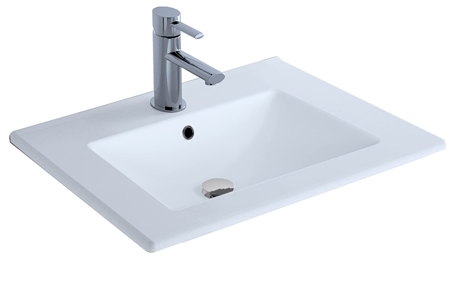 Cygnus Bath - Lavabo in ceramica di 70 cm, ultrapiatto 1100116191